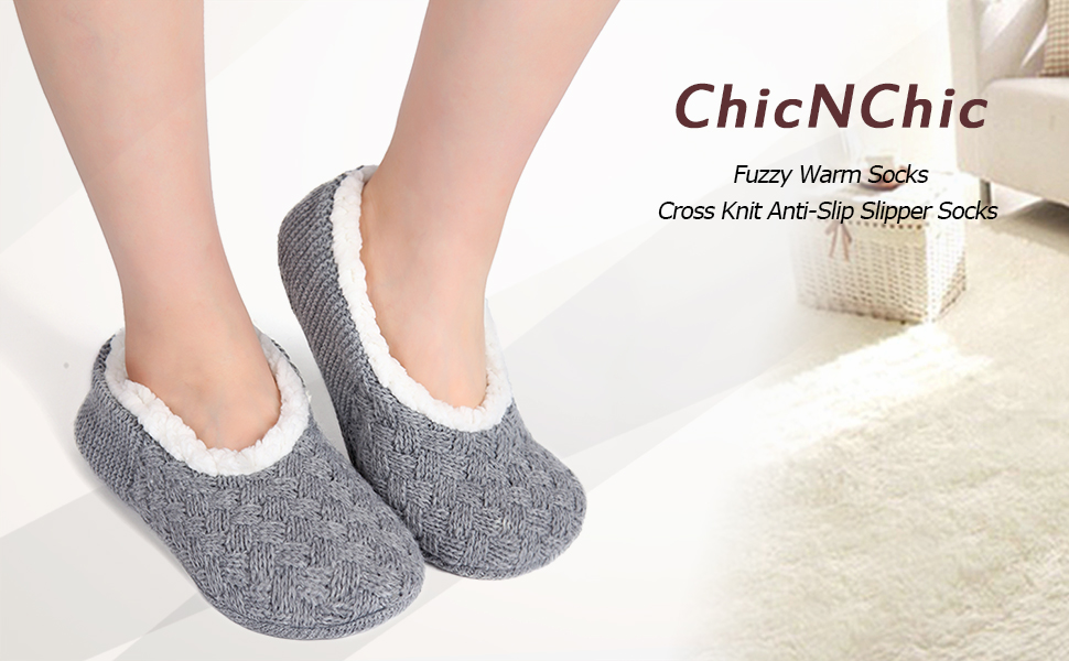a98c618904 ChicNChic Women Cozy Warm Knit Non Slip Slipper Socks with Grippers ...