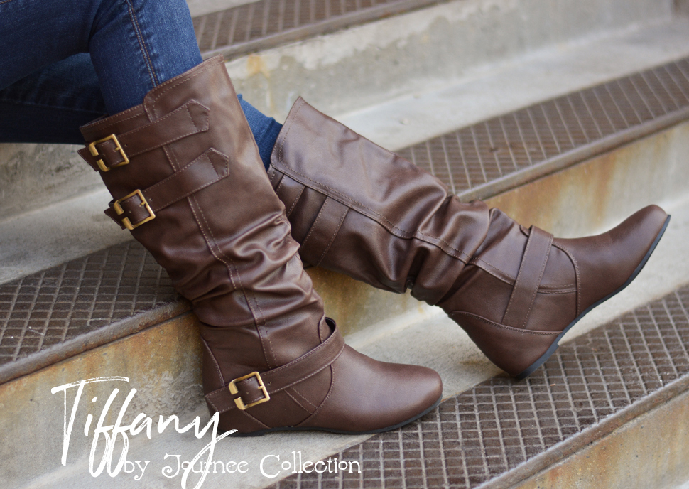 172a7a61f72b ... by Journee Collection. These cute boots feature faux leather uppers  that rise mid-calf and highlight slouchy detail on the shafts for a relaxed  look.