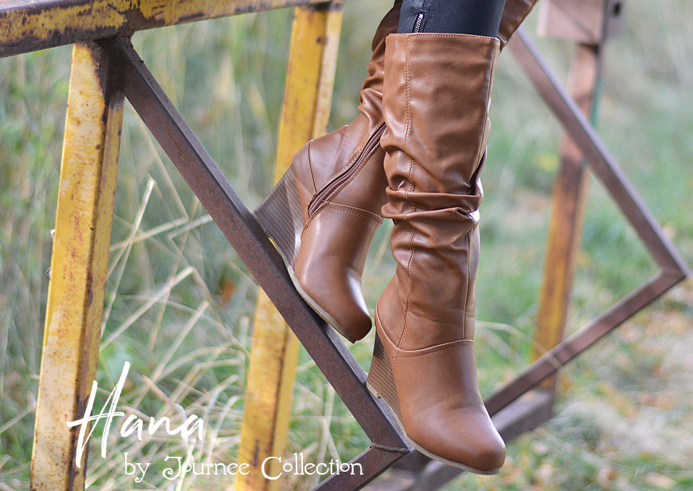 e73178c09d30 ... with these cute boots by Journee Collection. These boots feature PU  leather and slouchy shafts that rise mid-calf. A round toe design and  modern wedge ...