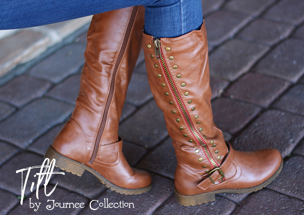 5fedeb4ae59 Make a statement in studded riding boots by Journee Collection. These  stylish boots feature premium faux leather uppers that rise to the knees  and highlight ...