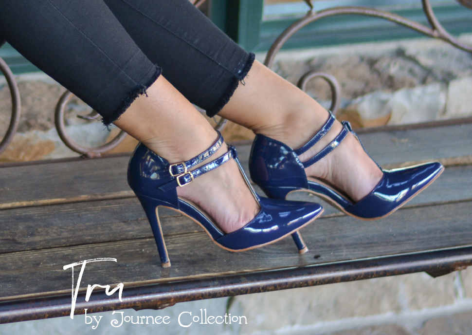 156aba0e2ec0 Show off stunning style in shiny t-strap pumps by Journee Collection. These  sleek cut-out pumps feature premium faux leather uppers with a lustrous  patent ...