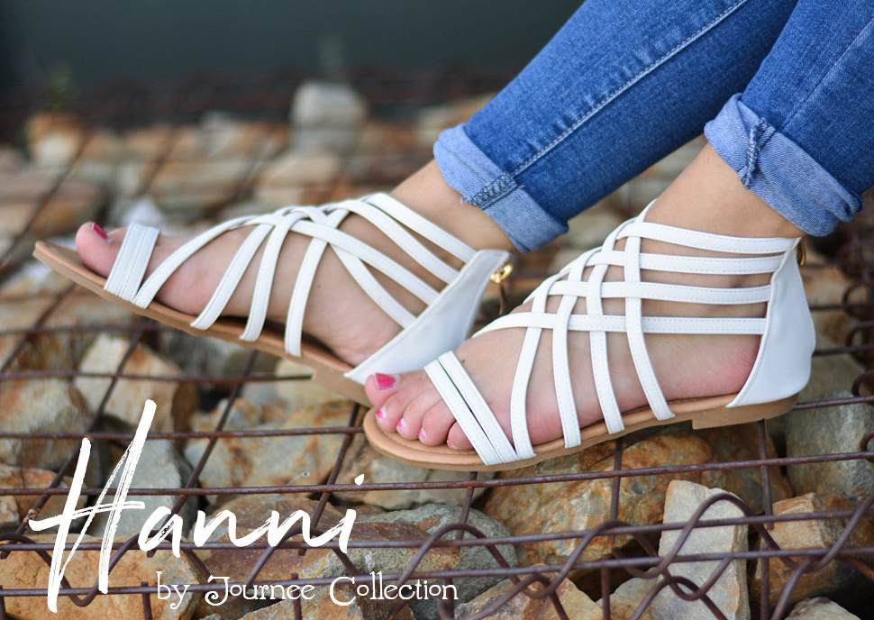 a0dc630a000dcd ... this season with strappy flat sandals by Journee Collection. Intricate  straps overlap and create a basketweave design for a decorative appearance