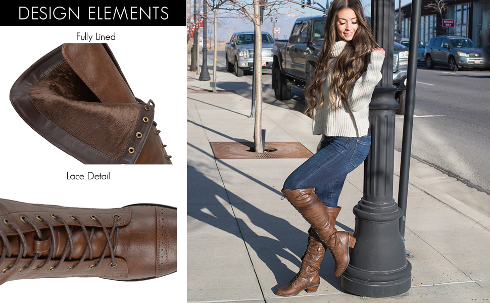 4b624059d50 Journee Collection Womens Regular and Wide Calf Brogue Lace-up  Over-The-Knee Boots