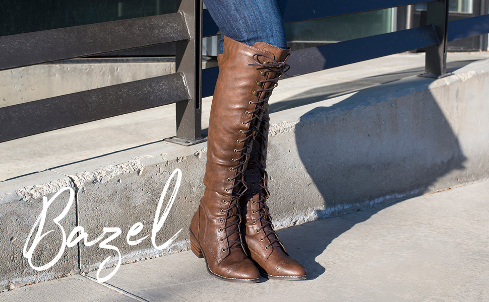 49888c44f4e ... with over-the-knee boots by Journee Collection. Durable faux leather  uppers rise above the knees and highlight a cool lace-up design and brogue  detail.