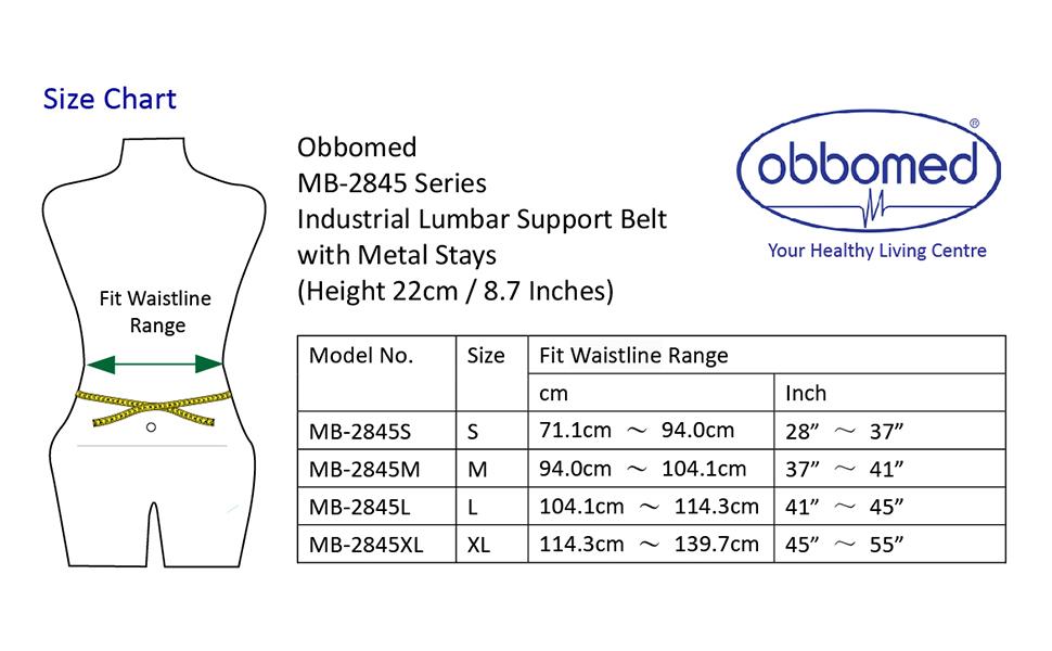MB-2845N size chart