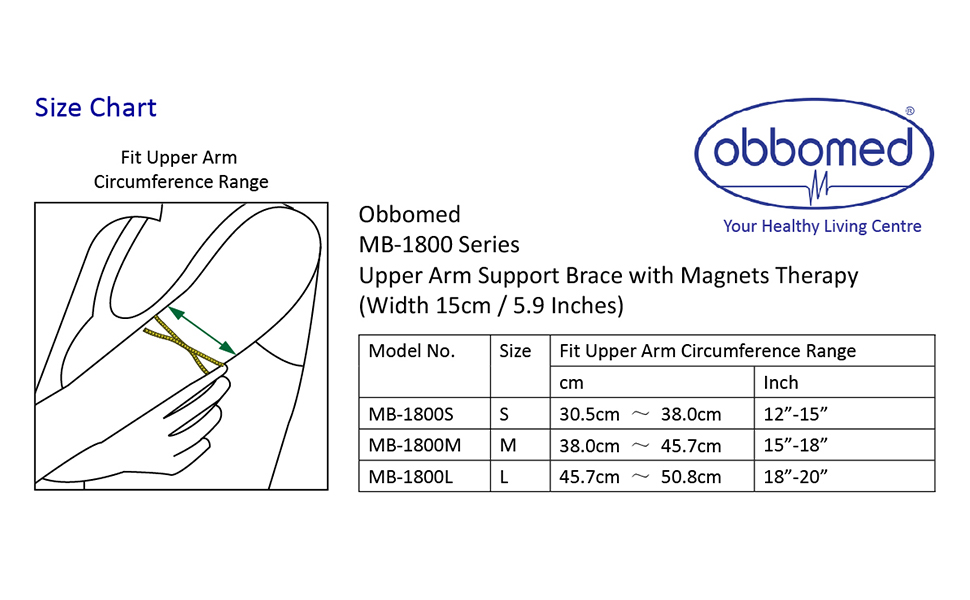 ObboMed® MB-1800L Upper Arm Support Brace with Magnets for Tennis Elbow,  Golfer's Elbow,