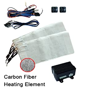 Automobile Vehicle Accessory Winter Car ObboMed SH-4190 12V 80W Carbon Fiber Universal Compatible Retrofit Built-in Seat Heater Warmer for Front Seat Kit Driver/& Passenger Complete Seat Set ObboMed® Group