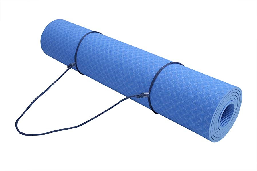 """(Stock Clearance!!) ObboMed FY-1806 Non-Slip TPE Exercise Fitness Yoga Mat 72"""" x 24"""", 1/4"""" (6mm) Thickness with Bonus Carrying Strap for Workout, Hot, ..."""