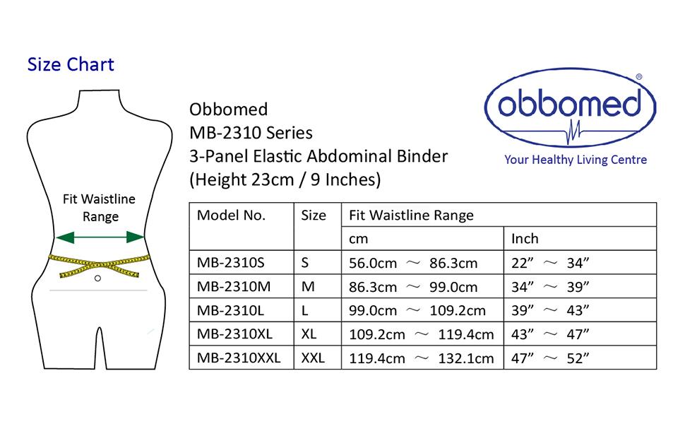 MB-2310N size chart