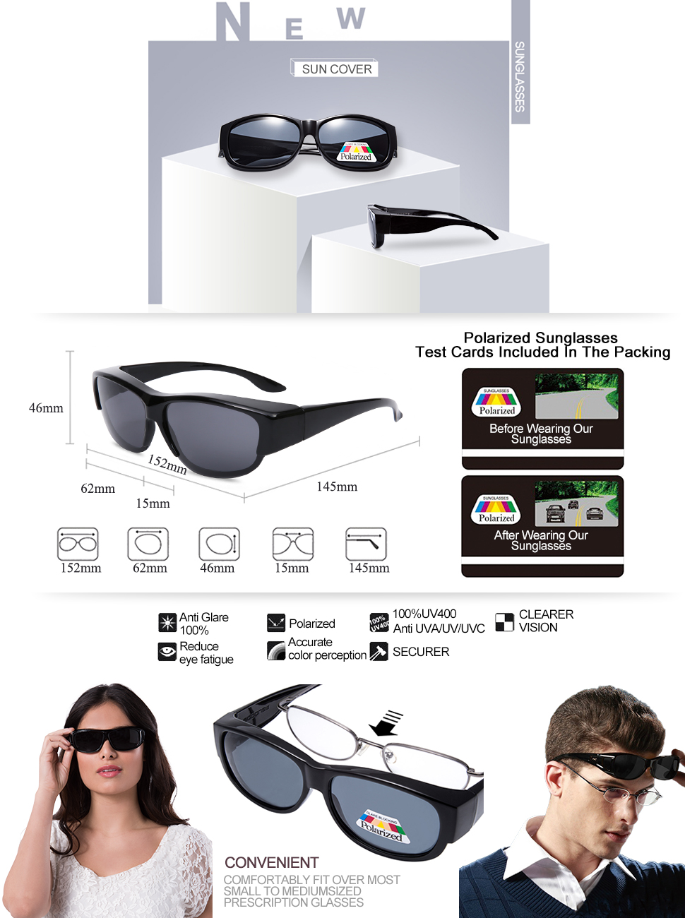1 pair of black sun cover for women at 1 low price. The sunglasses can be put  over your prescription glasses to protect your eyes from UV outdoor. 003f0e4c2