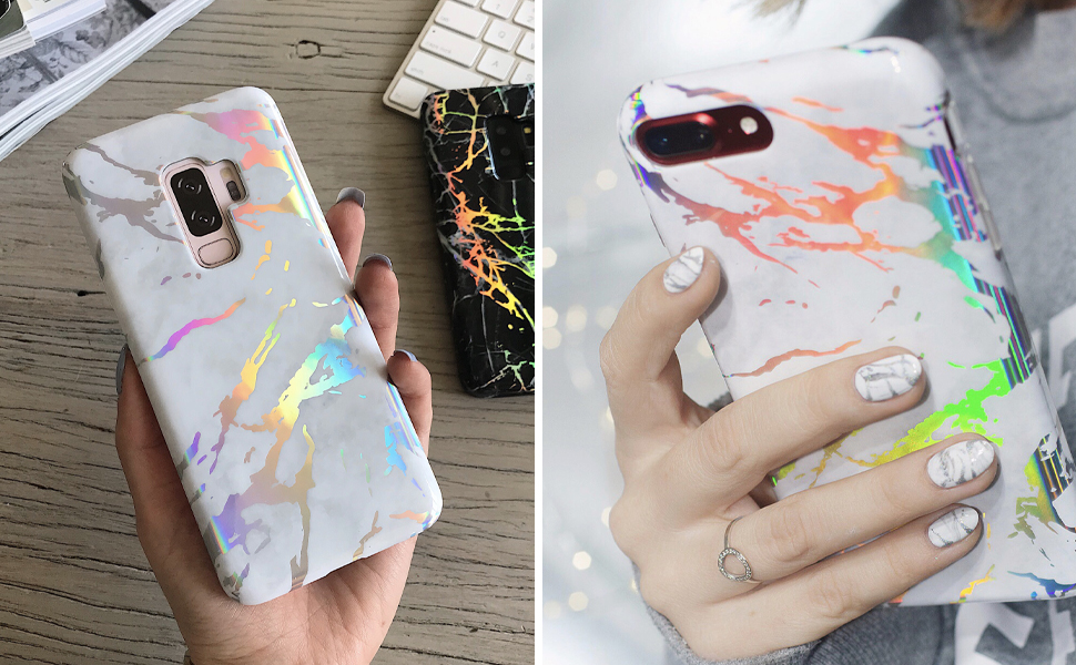 holographic white marble iphone 8 plus case