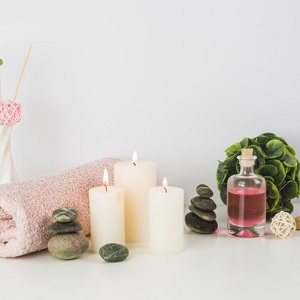 spa white candles