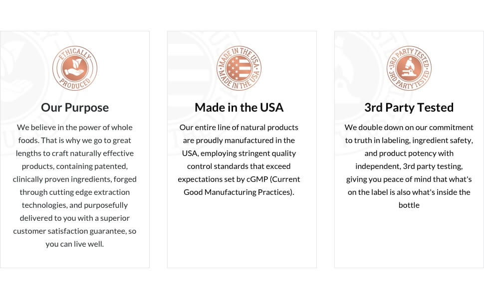 Brand Benefits - made in the USA, 3rd Party Tested