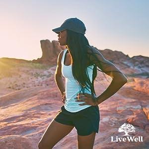 Female hiker against red rocks