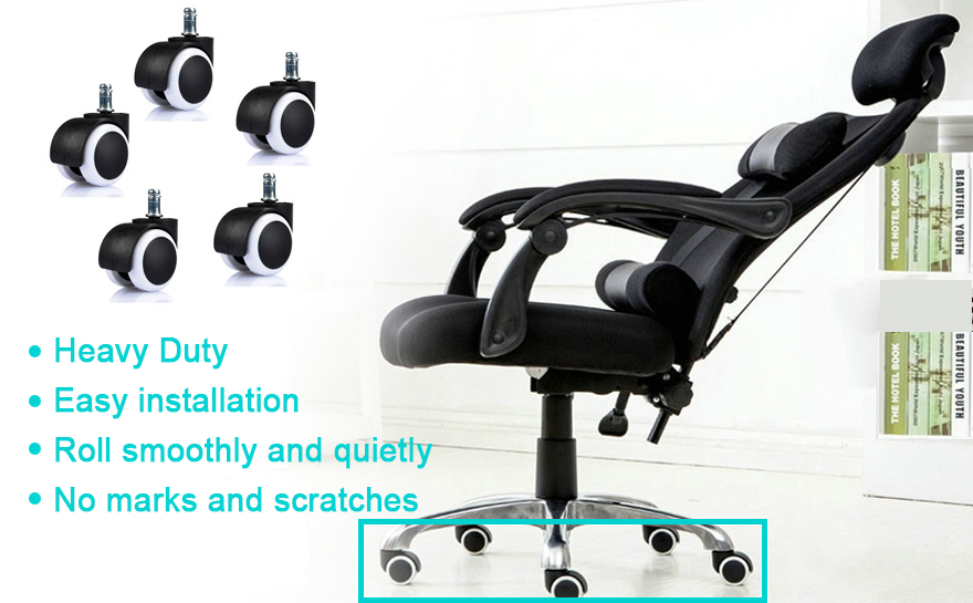 ZOTO Heavy Duty Office Chair Caster Soft PU Twin Replacement Wheels