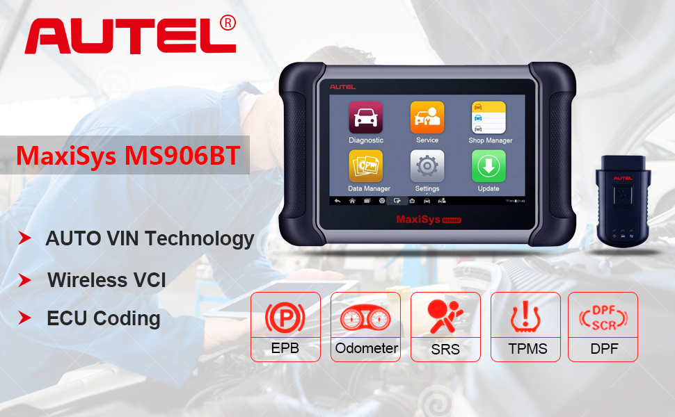 Autel Maxisys MS906BT is one of the best professional automotive diagnostic scanners that offers all system diagnosis, all service functions and ECU Coding.