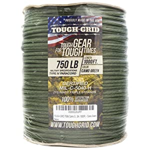 Camo Green 750lb Mil Spec Type IV Parachute Cord Paracord Cordage Packaging - 1000Ft. on Spool