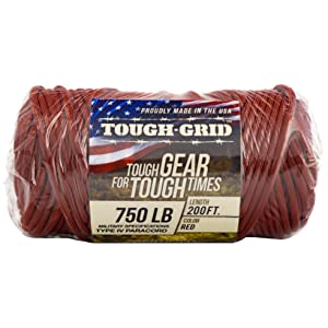 TOUGH-GRID 750lb Mil Spec Type IV Parachute Cord Paracord Cordage Packaging - On Tube - 200 Feet