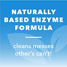 "Light blue leaves icon. Text reads ""Naturally based enzyme formula: cleans messes others can't."""