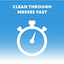 "Stopwatch logo. Text reads ""Clean through messes fast."""