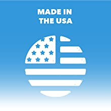 "Circular American flag logo. Text reads ""Made in the USA."""