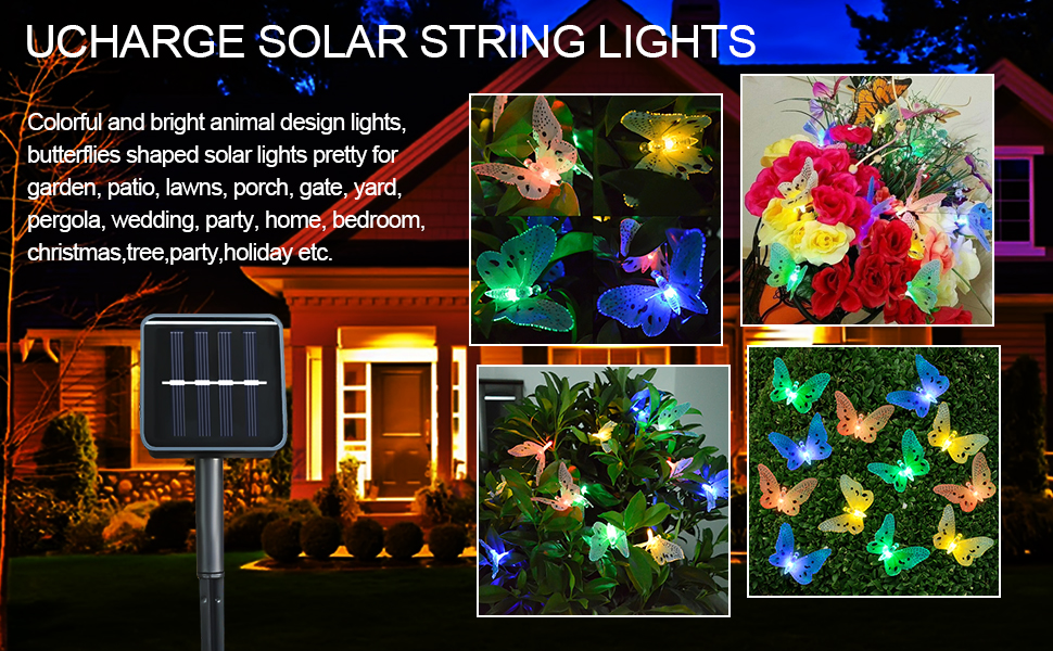 Ucharge Animal Design Garden Solar String Lights Butterfly 12LED  Multi Color For Lawn, Patio, Wedding, Party, Bedroom, Outdoor Decoration