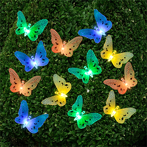 Ucharge Solar Power String Lights 12 Led Animal Design Multi Color Fiber Optic Butterfly Decorative Lights For Home Patio Garden Tree And