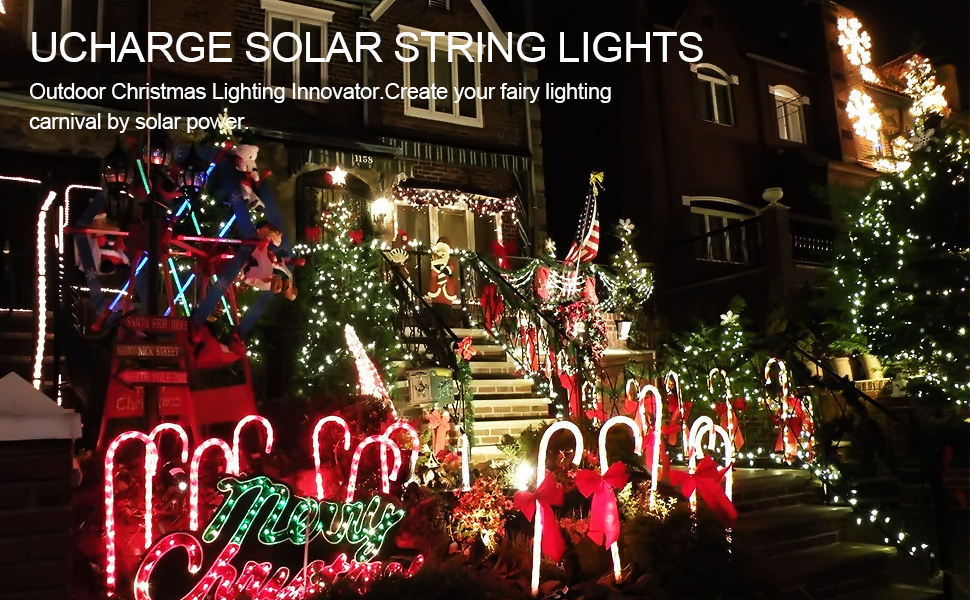 Amazon.com: Ucharge Solar String Lights, 72ft 200 LED Solar ...