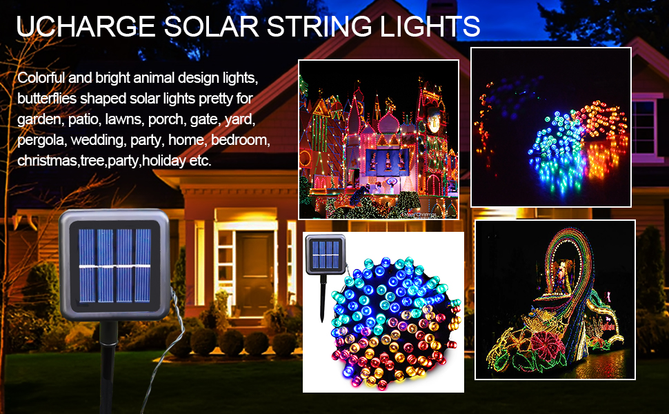 ucharge solar string christmas lights waterproof 200led 72ft for christmas trees patio garden decoration multicolor
