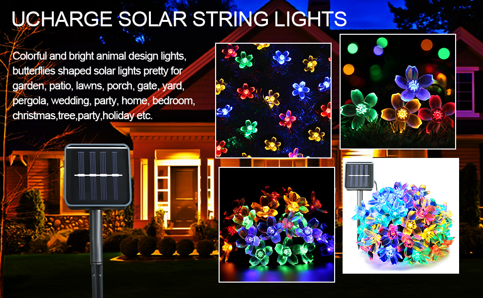 Ucharge Fairy Blossom Flower Solar Led String Lights, 23ft 50 LED Christmas  Lights For Indoor, Outdoor, Lawn, Garden And Holiday Decoration   Multi   Color