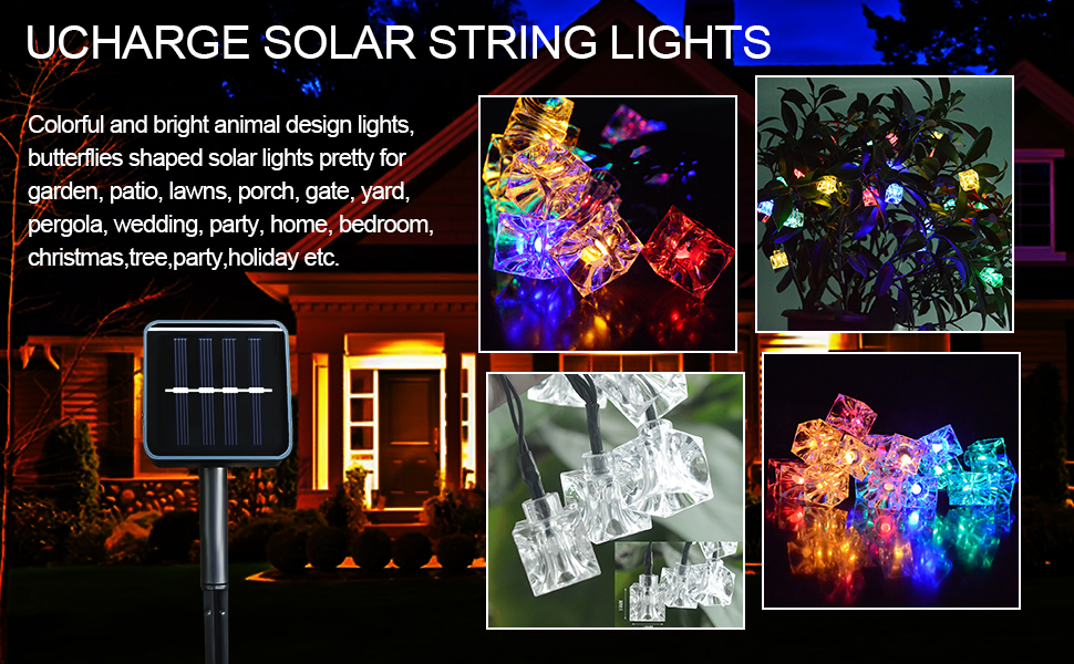 Solar String Lights 21ft 30led Ice Cubes Outdoor Solar