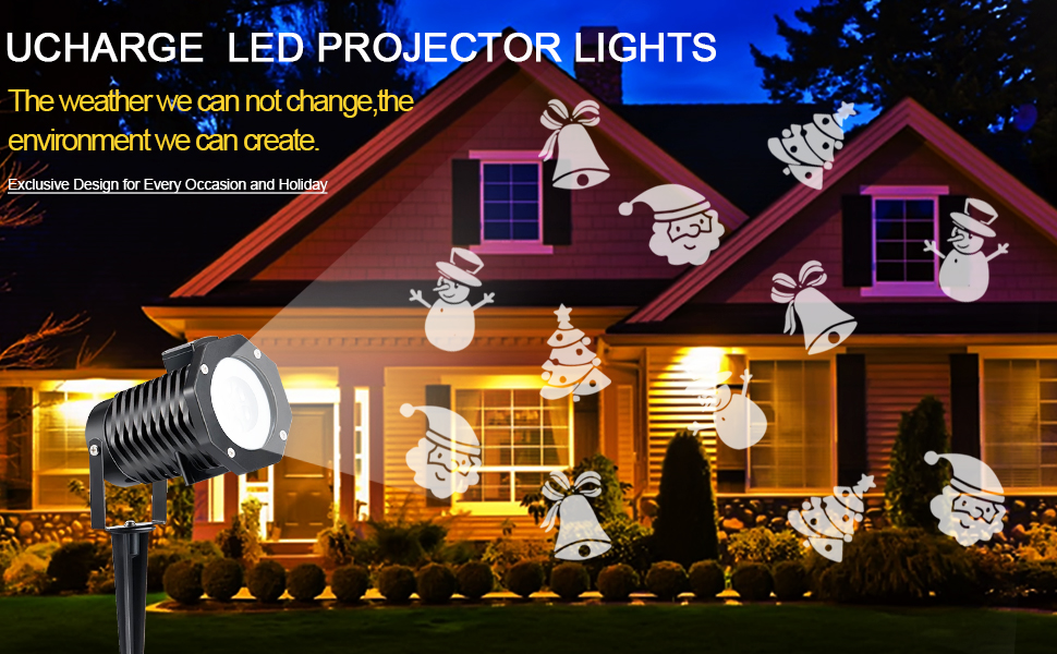 ucharge christmas projector 10 slides led projection landscape spotlight waterproof halloween birthday party decorations - Led Projector Christmas Lights