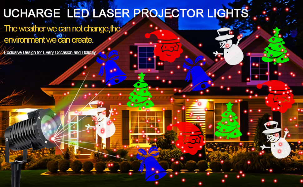 Projector laser light along with moving patterns create a unique display on  your home. Suit for any party, festival, walls, landscape, dance floors. - Amazon.com : Ucharge Christmas Laser Light, [Newest Version