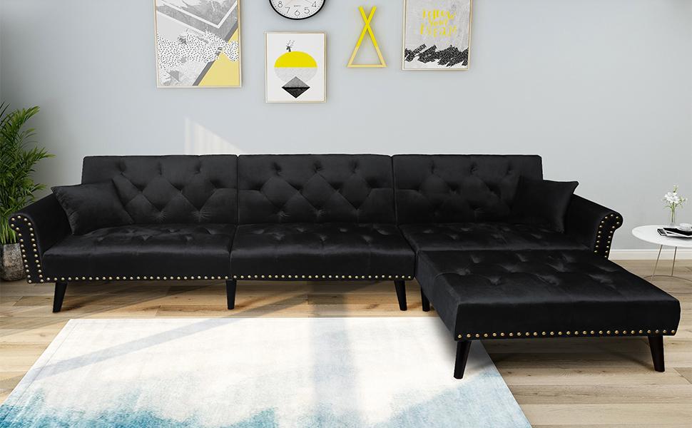 Black Sectional Sofa Sleeper Bed,JULYFOX 900 LB Heavy Duty 115 inch 3  Seater Sectional Sofa W/Chaise Velvet Sofa Futon Modern Day Bed W/Nail Head  Trim ...