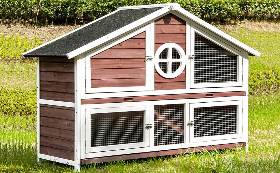 Amazon com : Julyfox Rabbit Hutch Indoor and Outdoor, Large