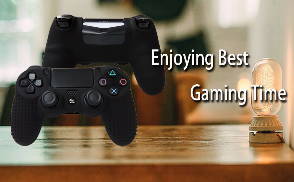 Pandaren PS4 Controller Grip,STUDDED Anti-slip PS4 Controller Cover Silicone Skin for PS4 /SLIM /PRO controller(Black controller skin x 1 + FPS PRO ...