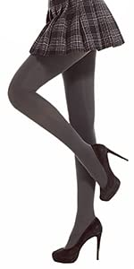 DancMolly Womens Opaque Tights Basic Control-Top Footed Hosiery