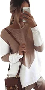 Women sweaters Stitching Color Knitted Loose Sweater