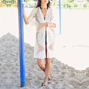 230d6f6c6e shermie Women's Floral Crochet Lace Beach Swimsuit Cover Ups Long ...
