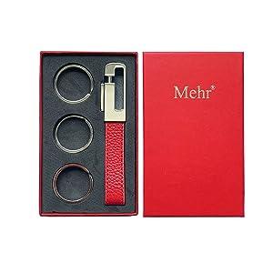 Mehr 3048s Leather Valet Keychain - Detachable Key Chain & Key Rings (Monaco Red)