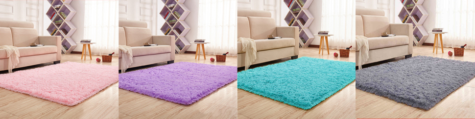 Amazon.com: YJ.GWL Soft Pink Shaggy Area Rugs for Girls Room Bedroom ...