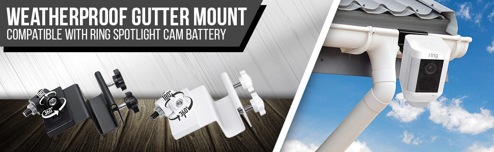 Weatherproof Gutter Mount for Ring Spotlight Cam Battery