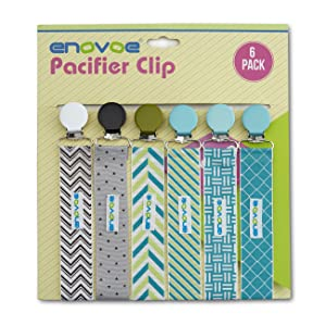 Pacifier Clip by Enovoe - 6 Pack of Pacifier Clips (BPA Free, Lead Free, Latex Free) - Stylish Teething Ring Holder for Baby Boys and Girls, Perfect ...