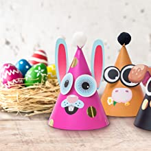 easter party hats craft making kit diy colorful rabbit