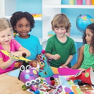 kids learning together craft hats diy