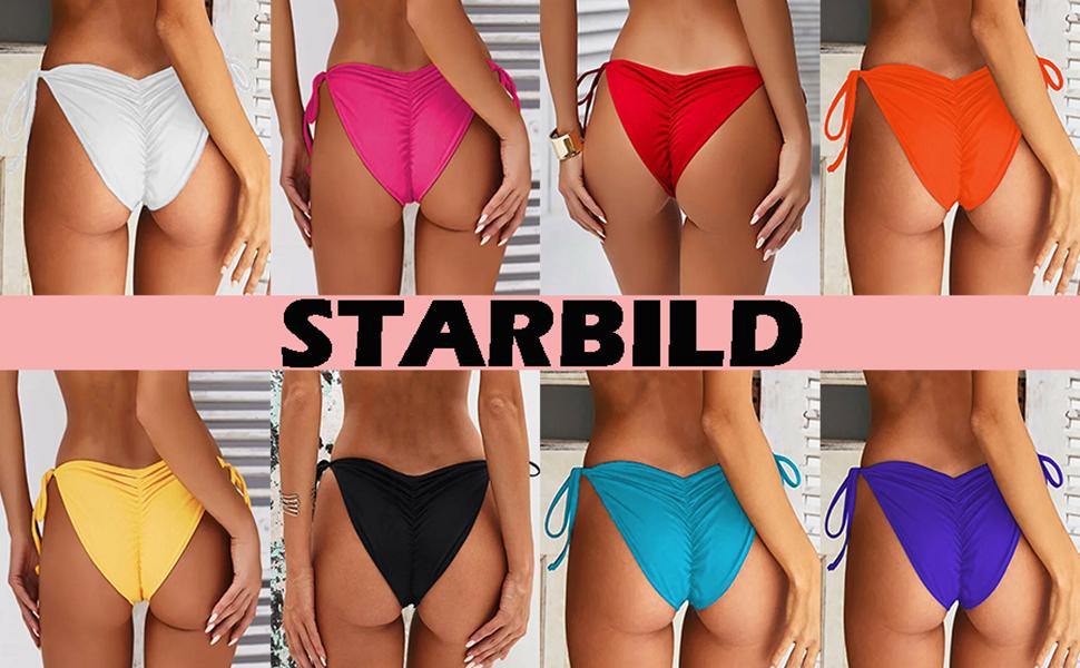 1261f290d8c STARBILD Women's Sexy Brazilian Bikini Bottom with Tie-Side Cheeky V Cut  Thong Swimsuit
