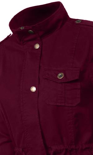 9b31ed9b489d3 Features  JLWJ10-Hood   6 Pockets   Button and Zipper Closure   Drawstring  waist. JLWJ128-Front two flap pockets   one chest faux zipper pocket