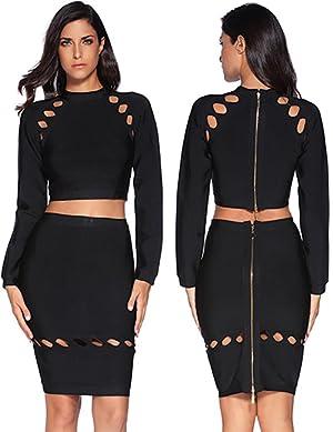 meilun Womens 2 Pcs Set Hollow Long Sleeve Crop Top Skirt Bandage Party Dress