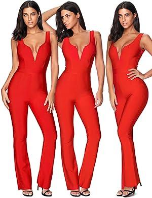 523835d9b9e7 Amazon.com  Meilun Women s Rayon Bandage Jumpsuit V Plunge Bodycon ...