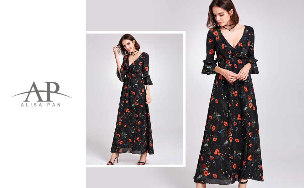 alisapan v neck empire waist floral print maxi dress with